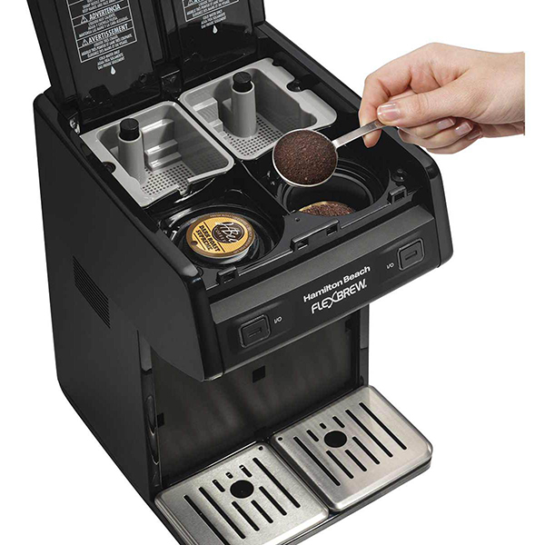 open FlexBrew coffee maker with a K-cup and ground coffee