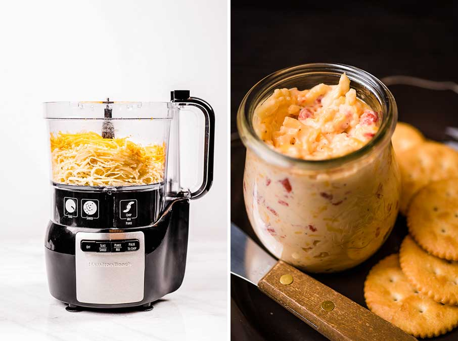 food processor with pimento cheese