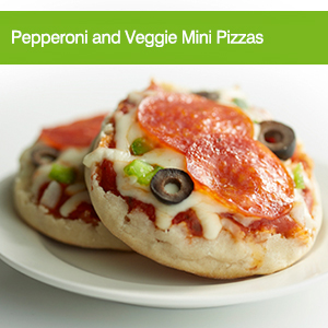 Pepperoni and Veggie Mini Pizzas