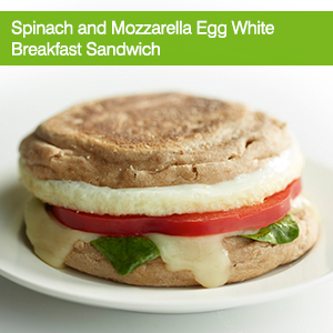 Spinach and Mozzarella Egg White Breakfast Sandwich