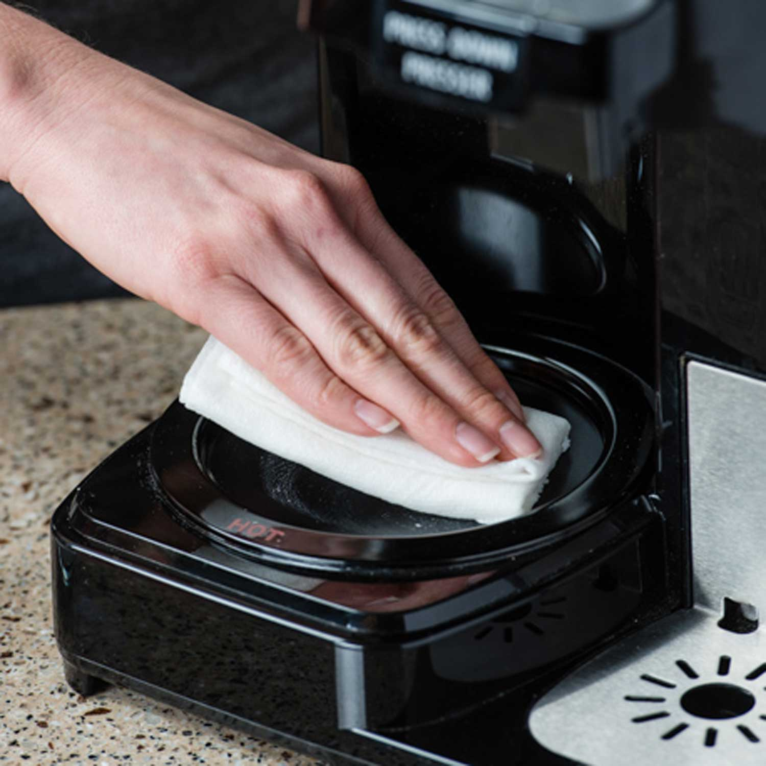 how to clean your coffee maker hot plate