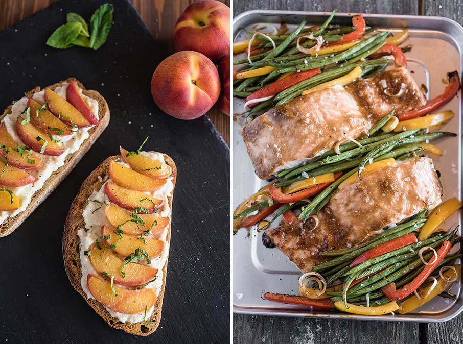 peach toast and a salmon sheet pan supper