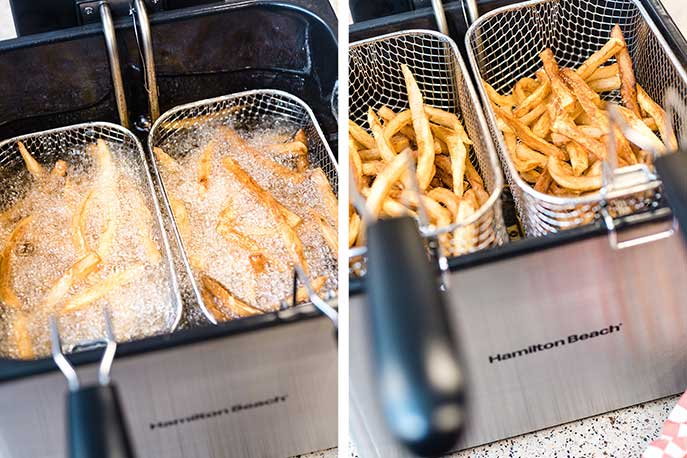 french fries being made in a deep fryer