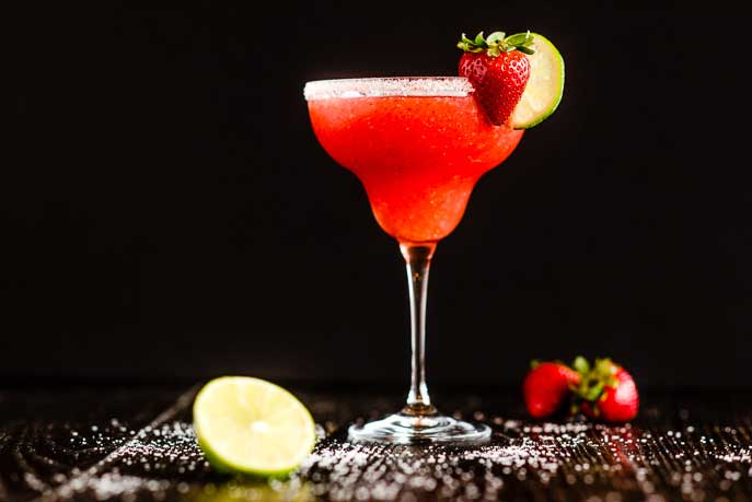 strawberry margarita made in a commercial blender