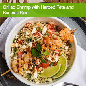 Grilled Shrimp with Herbed Feta and Basmati Rice
