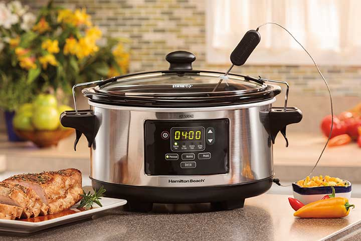 programmable slow cooker on a counter