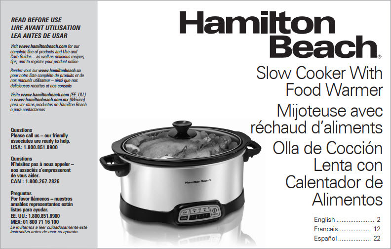 Example of Hamilton Beach slow cooker Use & Care instructions.