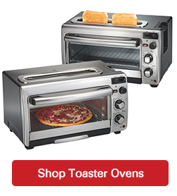 toaster ovens on white with a shop now button