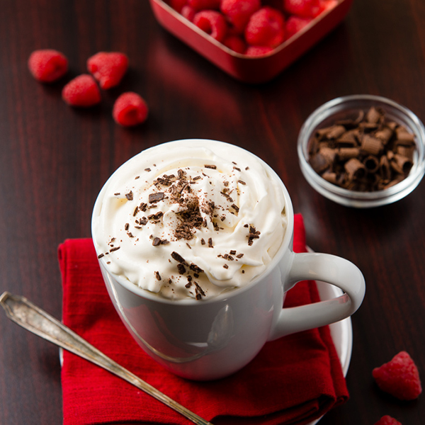 raspberry truffle coffee in a white coffee cup