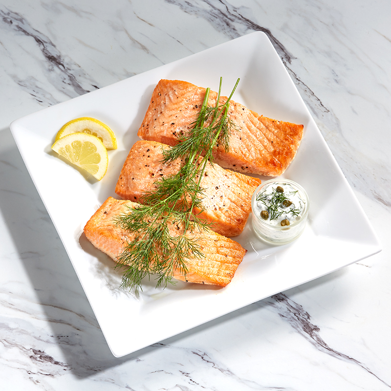 Air Fryer Salmon with Yogurt Lemon Caper Sauce