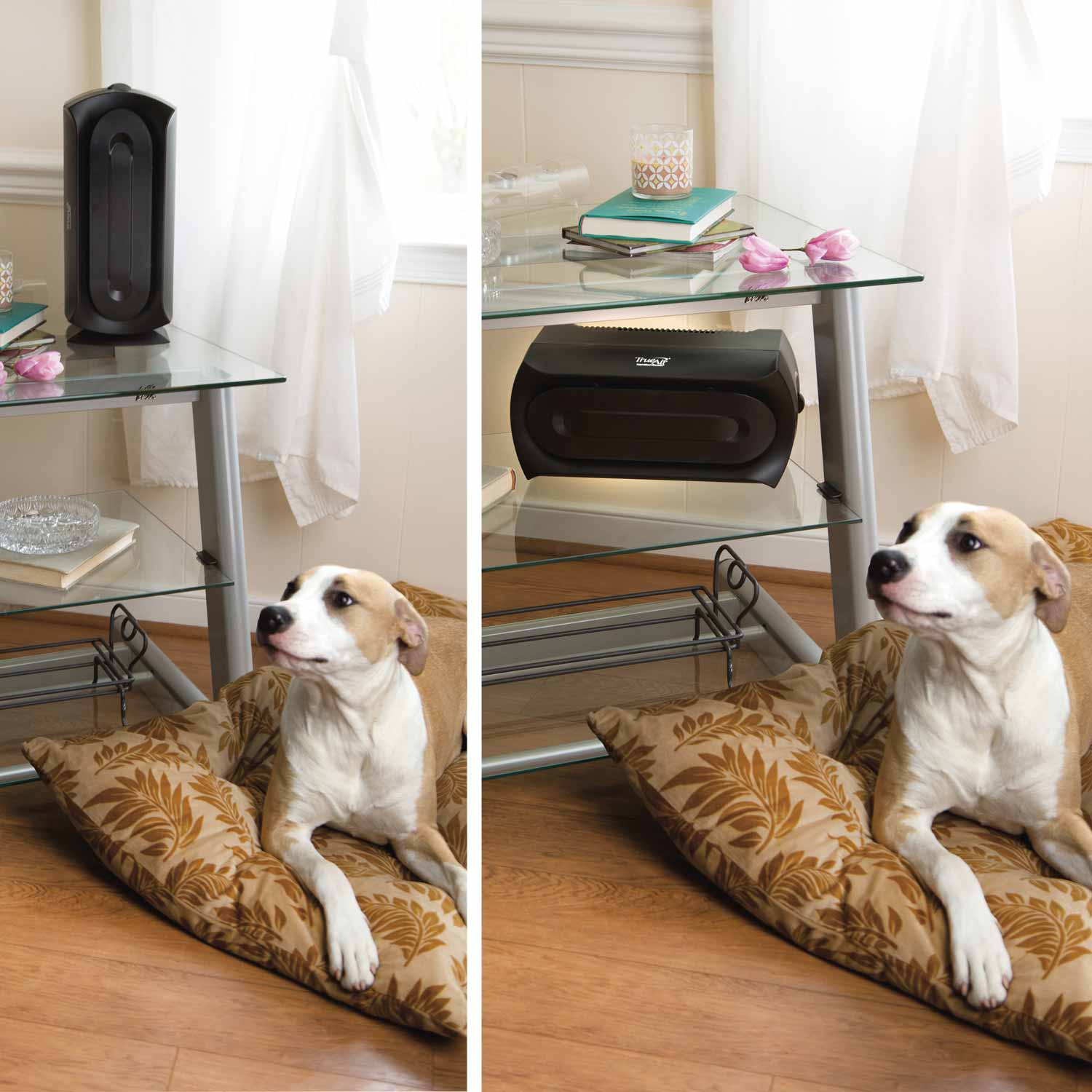 TrueAir Air Purifier 04386 is compact and can be used vertically or horizontally to fit any space.