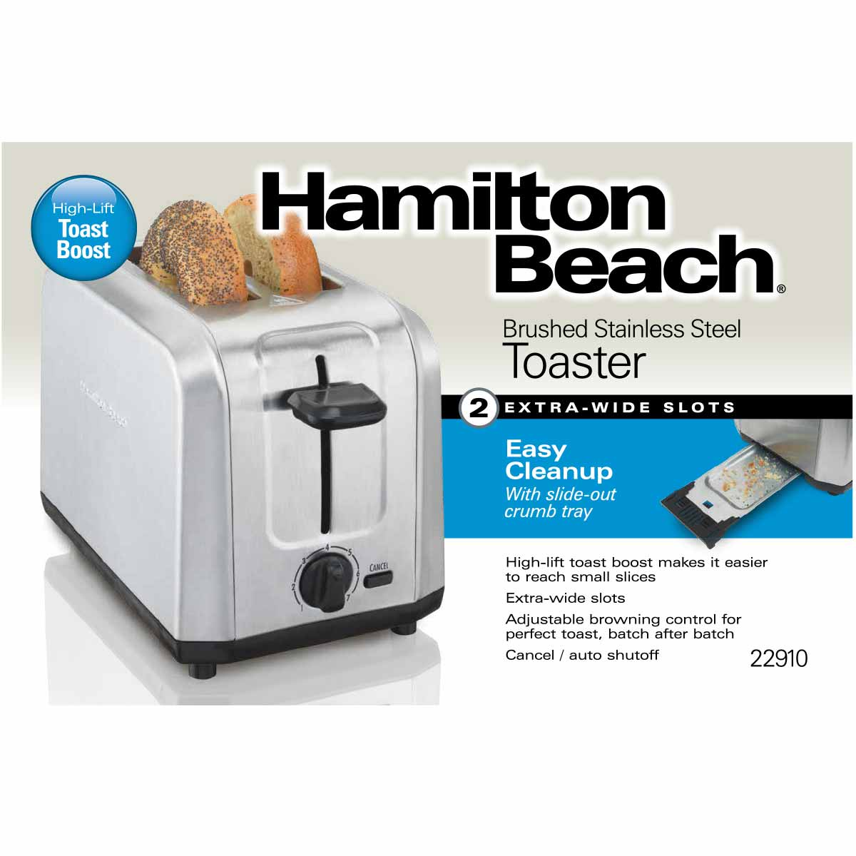 Brushed Stainless Steel 2-Slice Toaster (22910)