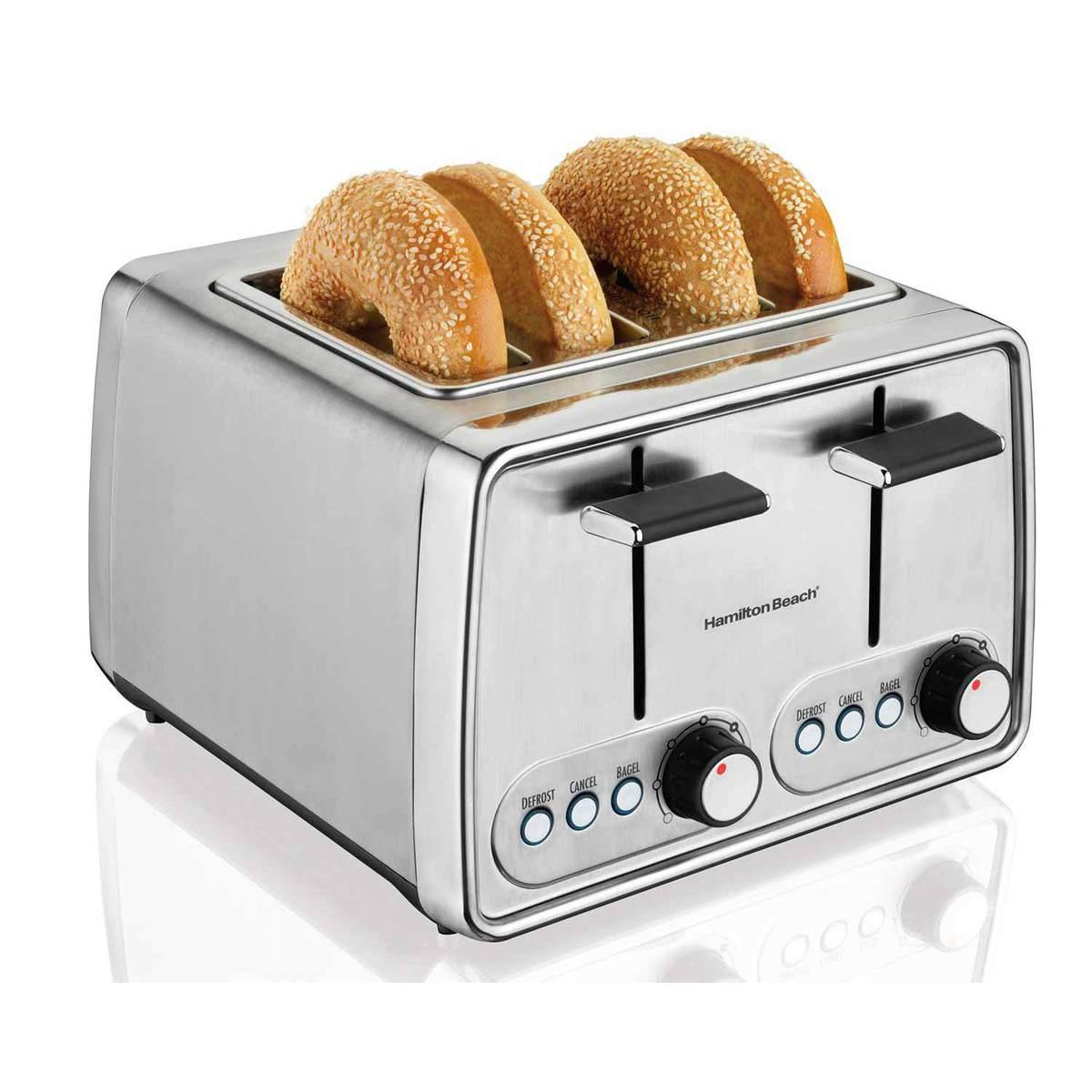 Cream Toaster Ovens ~ Hamilton beach modern chrome slice toaster