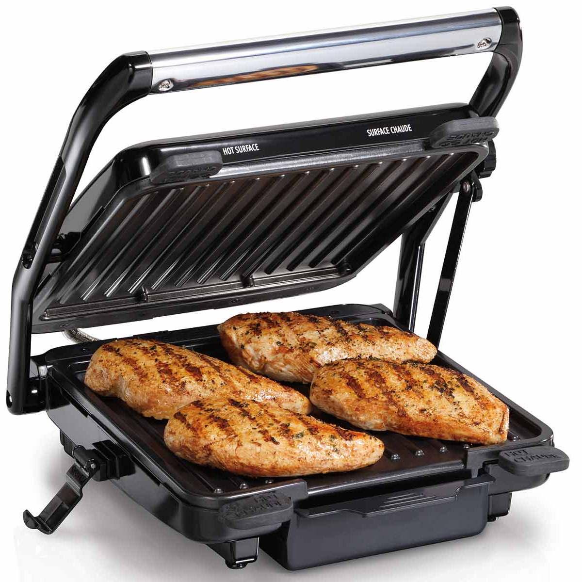 Indoor Electric Grill ~ Indoor grill with lock open lid  hamiltonbeach