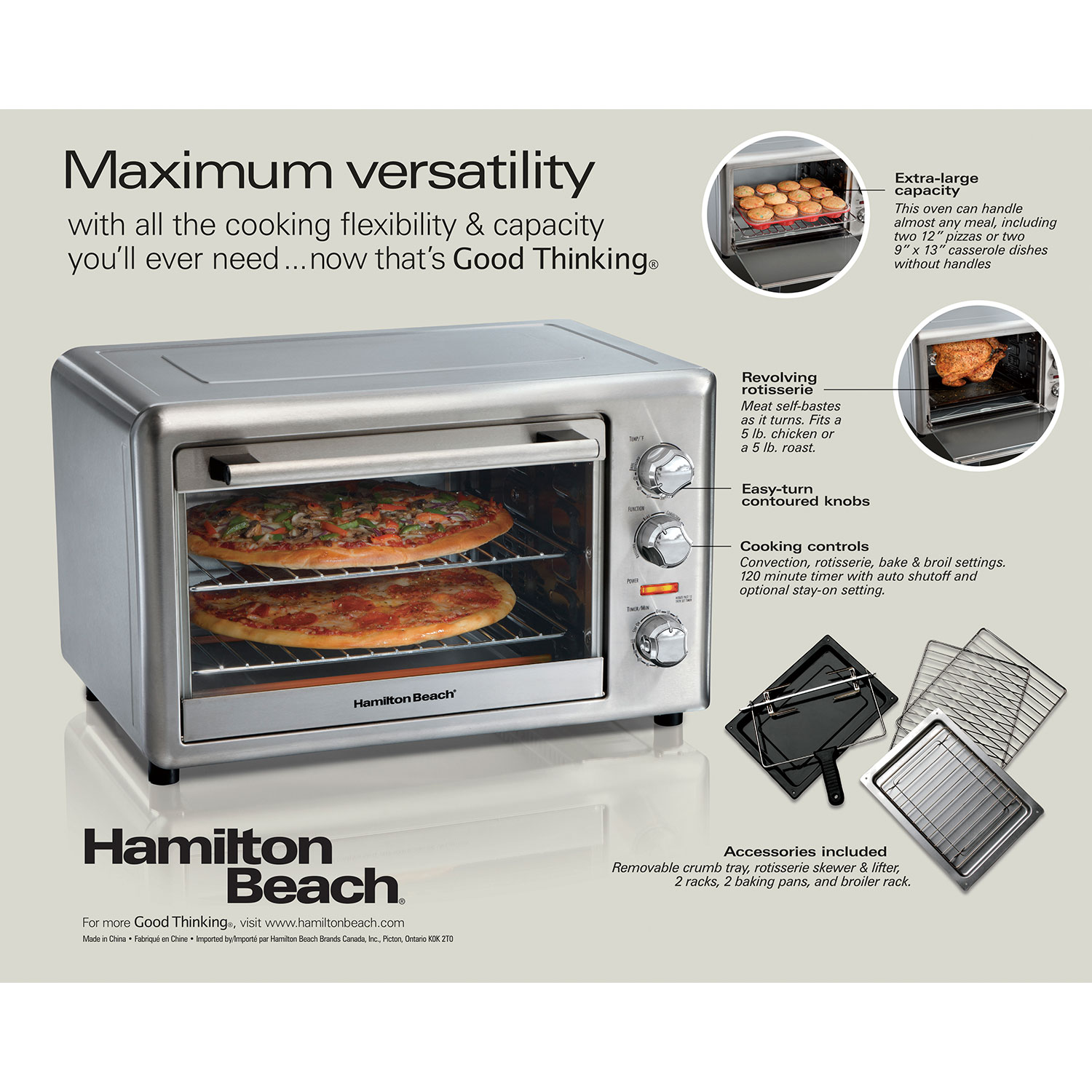 Hamilton Beach Countertop Oven With Convection And Rotisserie Stainless 31153d