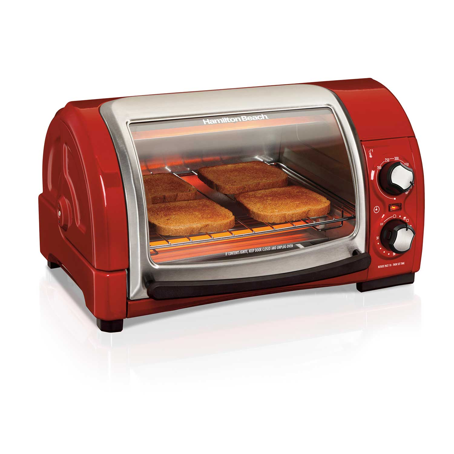 Easy Reach® Toaster Oven with Roll-Top Door, Red (31337D)