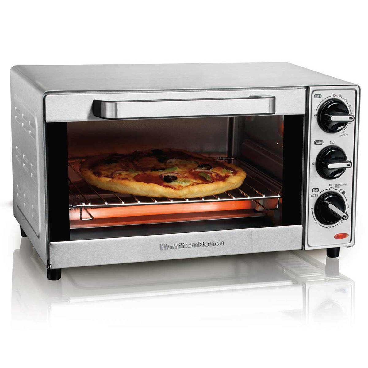 Warming up pizza in toaster oven
