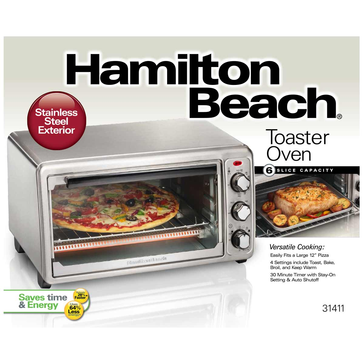Hamilton Beach 6 Slice Capacity Toaster Oven: Hamilton Beach Stainless Steel Toaster Oven
