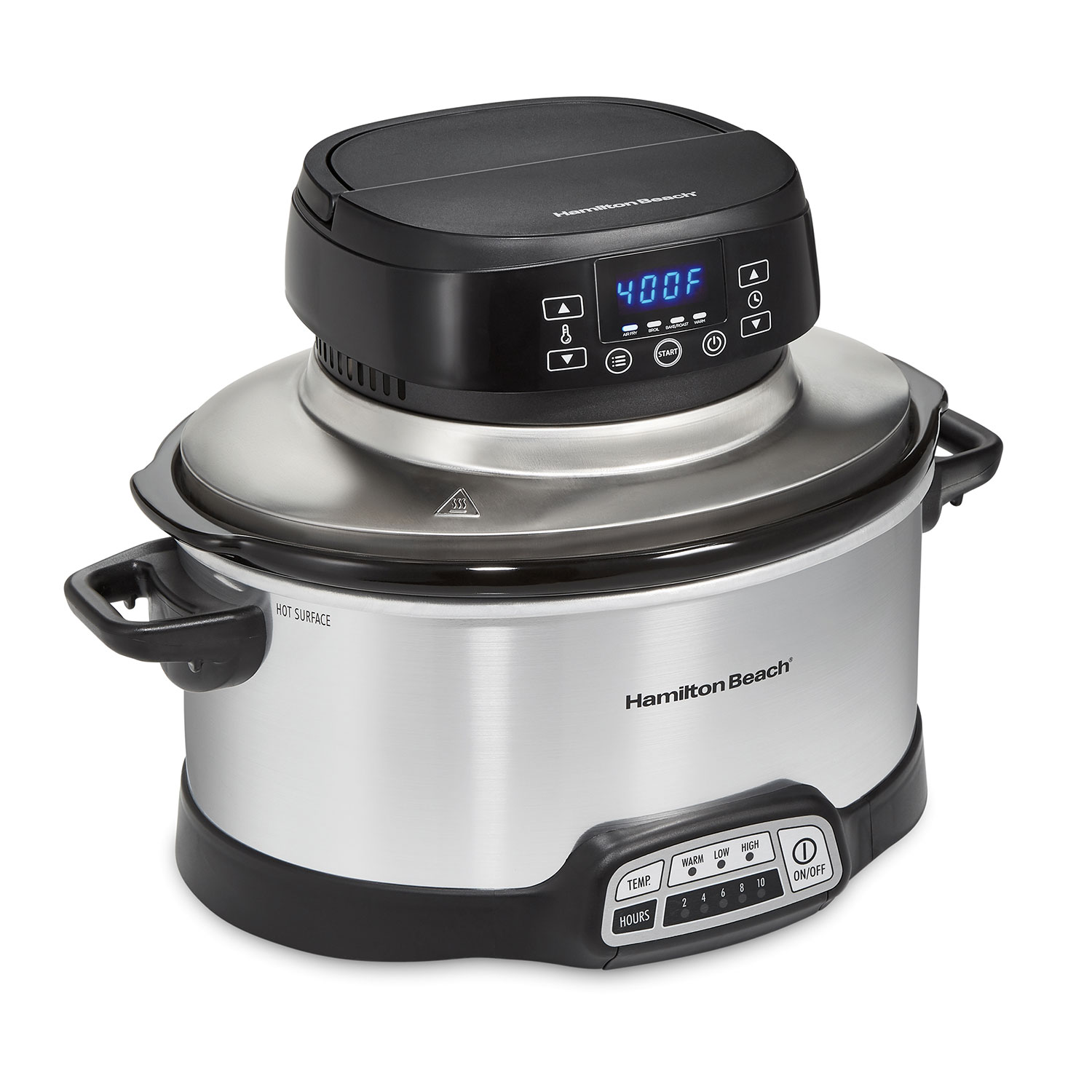 6 Quart 2-in-1 Air Fry Slow Cooker, Silver, (33061)
