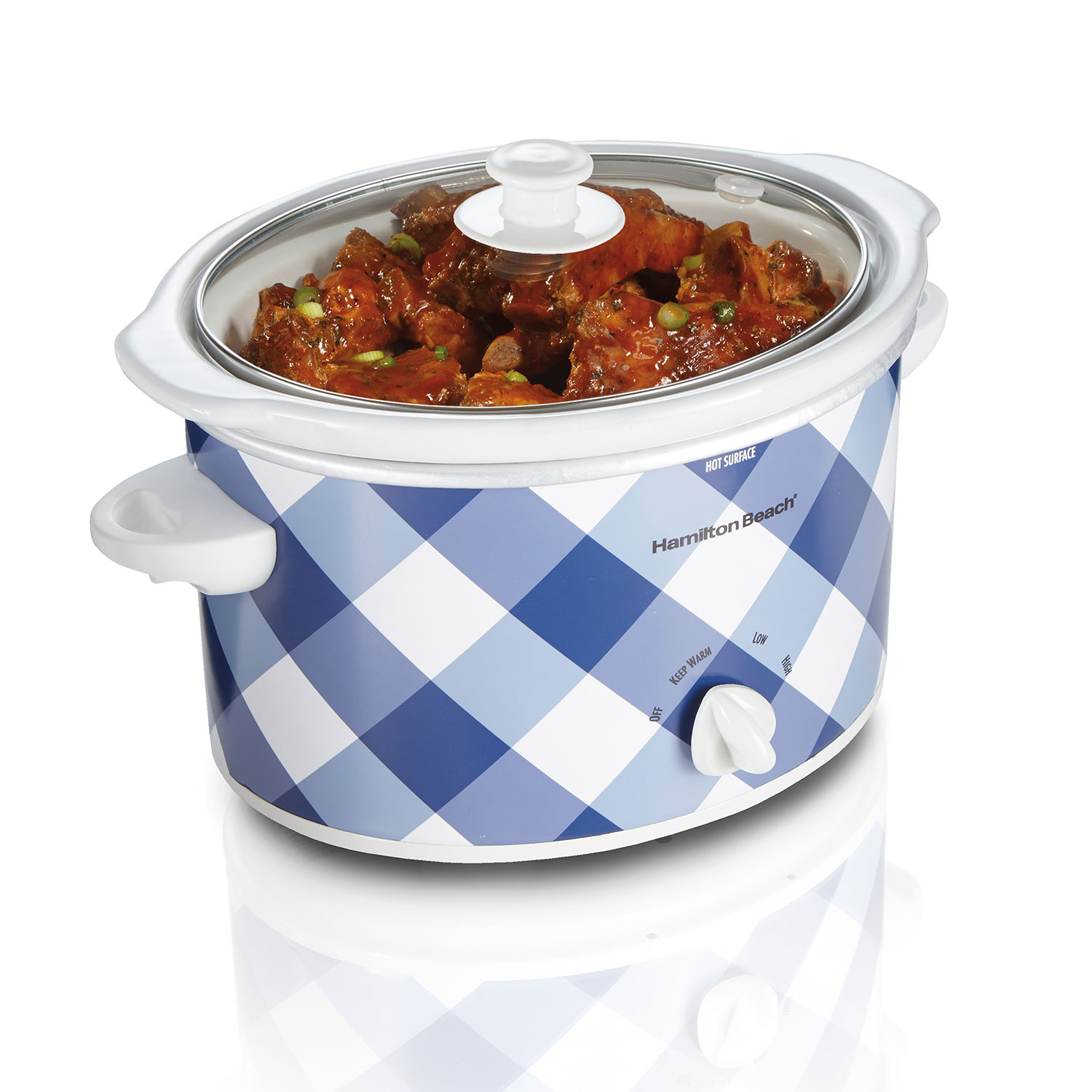 3 Quart Slow Cooker (Blue Gingham) (33232)