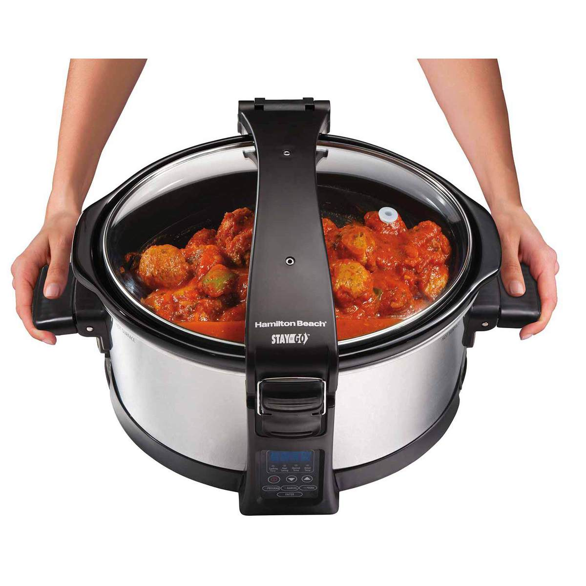 If you do need to move your slow cooker, be sure to use the attached handles.