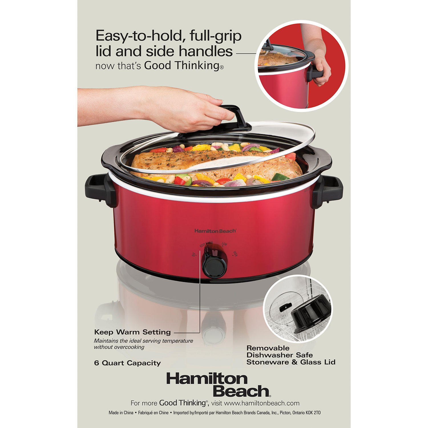 6 Quart Oval Slow Cooker (Red) (33666)