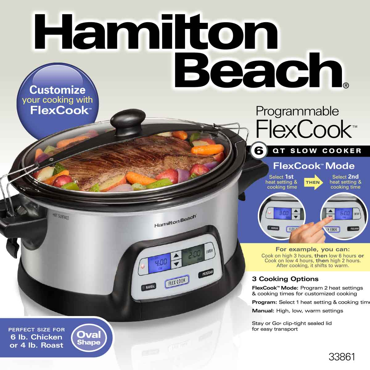 FlexCook 6 Qt Stay or Go® Slow Cooker (33861)
