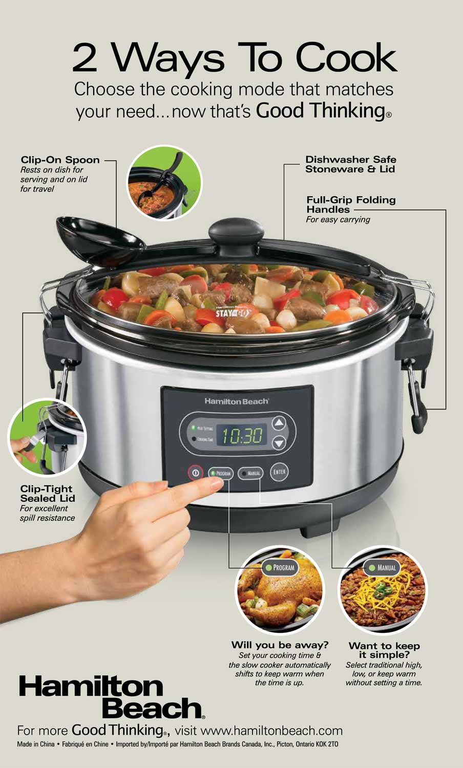 Stay or Go® 5 Quart Programmable Slow Cooker (33957)