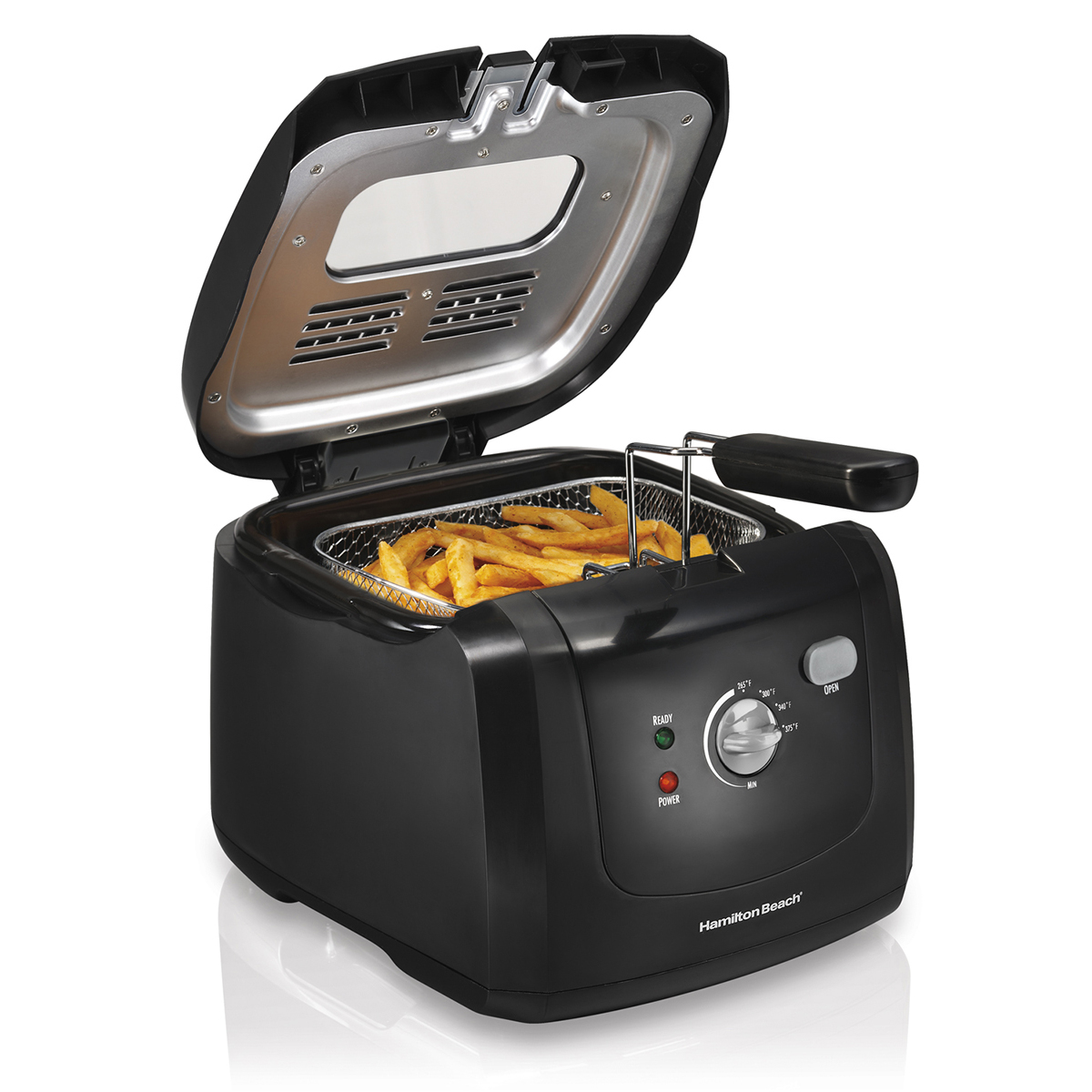 Deep Fryer, 8 Cup Oil Capacity with Immersion Heater - Black (35021)