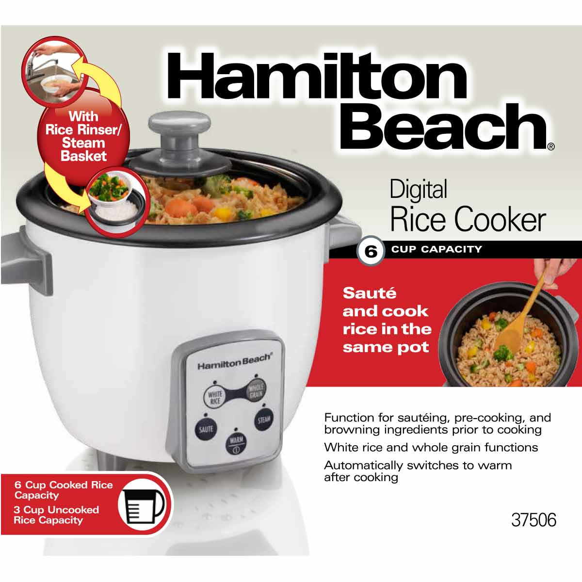 6 Cup Capacity (Cooked) Digital Rice Cooker (37506)