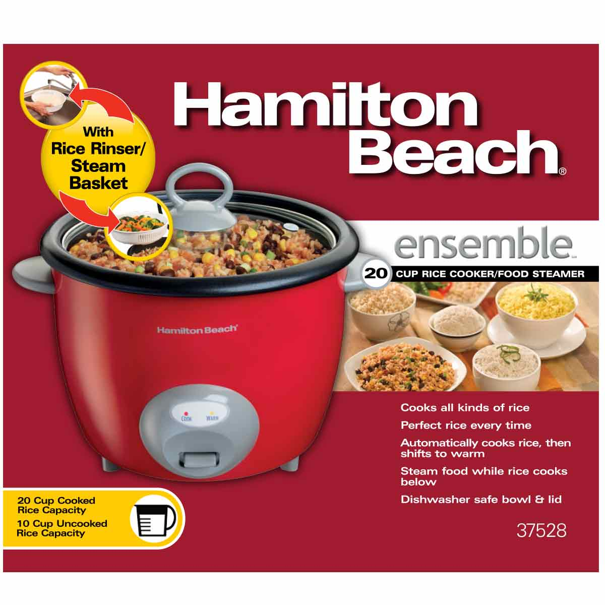 Largest Capacity Rice Cooker Steamer ~ Hamilton beach ensemble™ rice cooker steamer cup