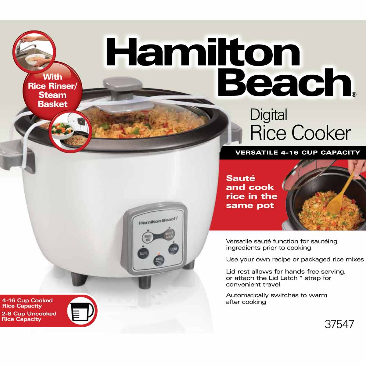 4-16 Cup Capacity (Cooked) Digital Rice Cooker (37547)