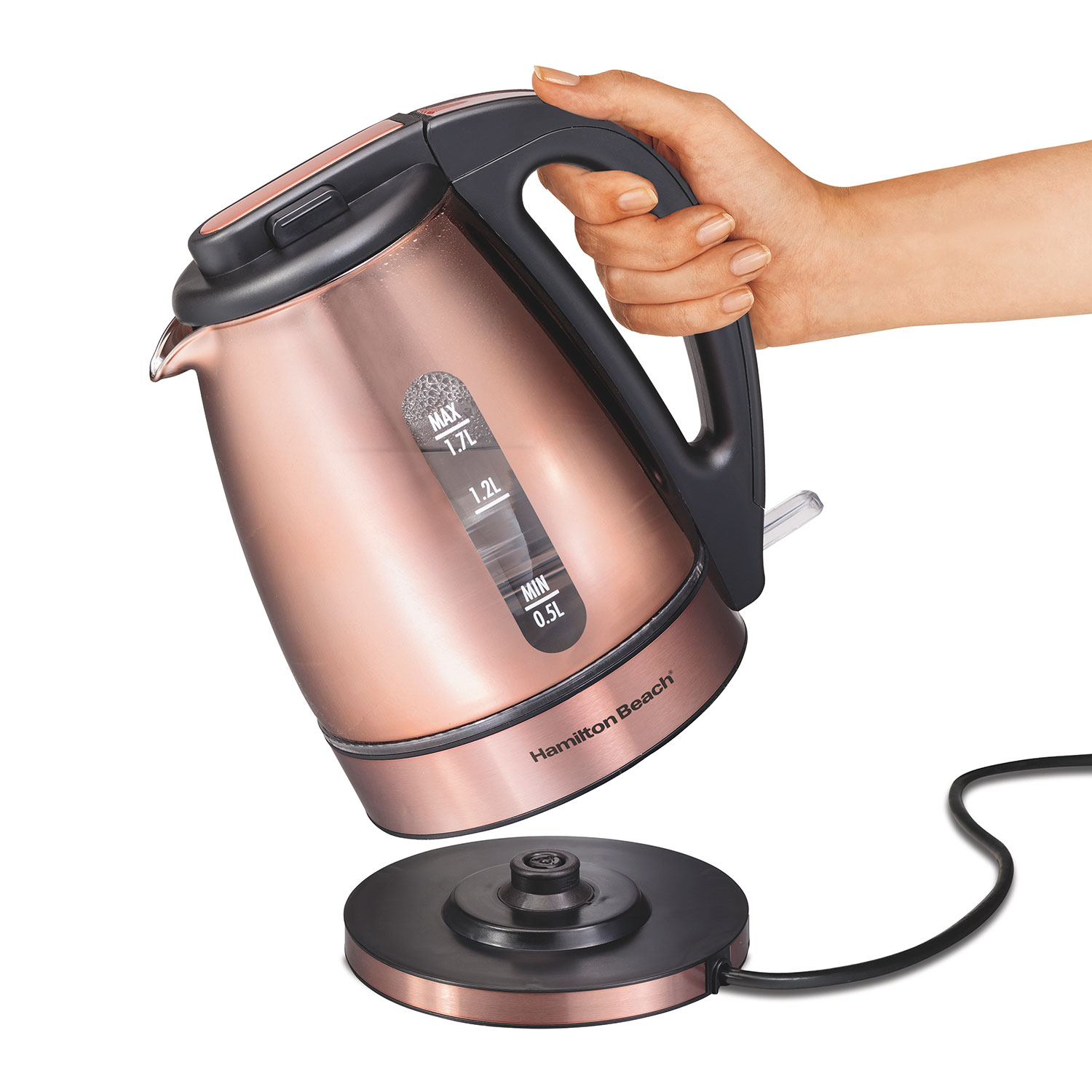 Glass & Stainless Steel with Copper Finish Kettle (40866)