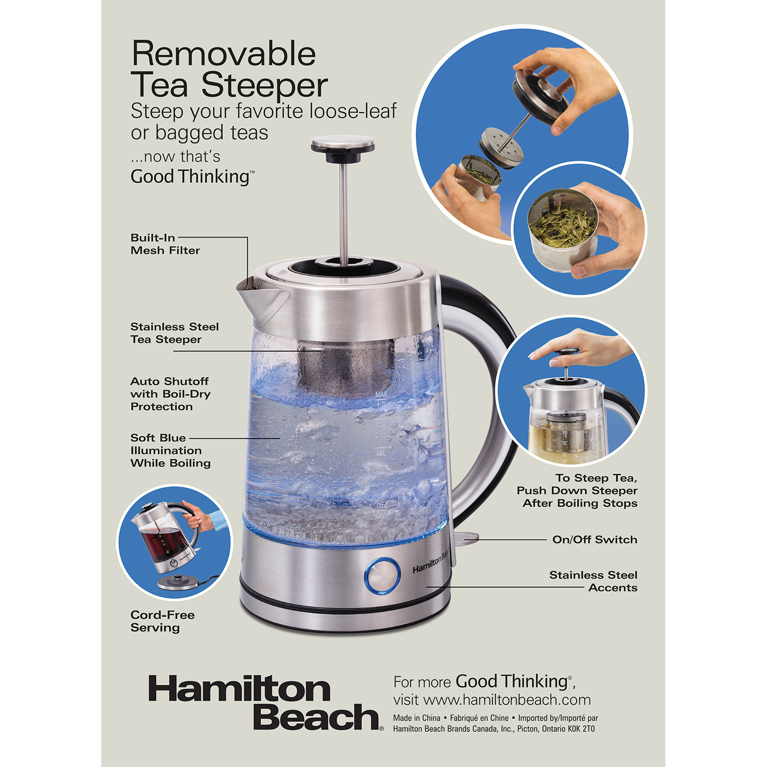1.7 Liter Electric Glass Kettle with Tea Steeper (40868)