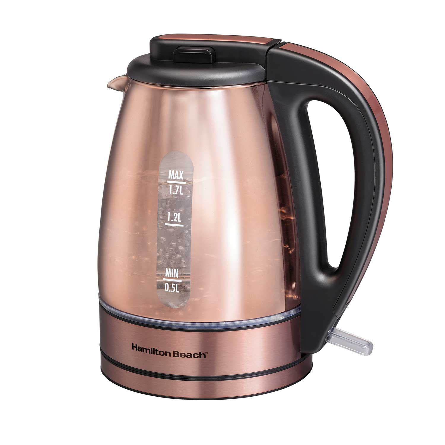 1.7 Liter Glass & Stainless Steel with Copper Finish Kettle (40876)