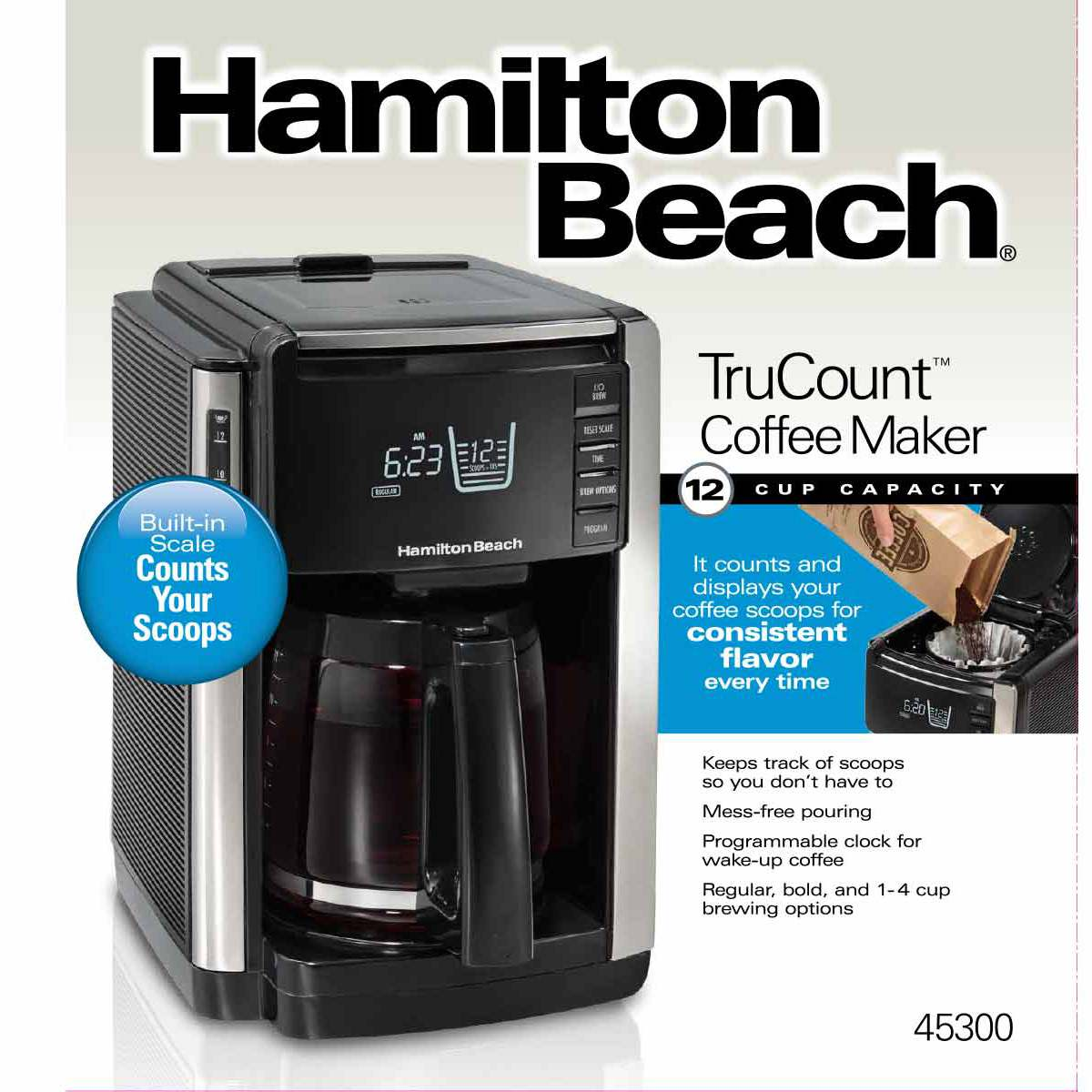 TruCount™ 12-Cup Coffee Maker with Built-In Scale, Black (45300)