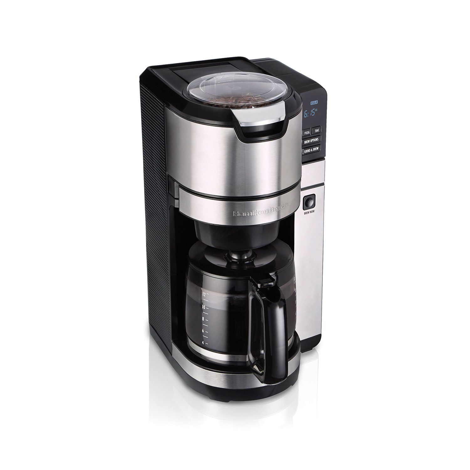 Programmable Grind and Brew 12 Cup Coffee Maker with Built-in Self-Rinsing Coffee Grinder (Black) (45505)