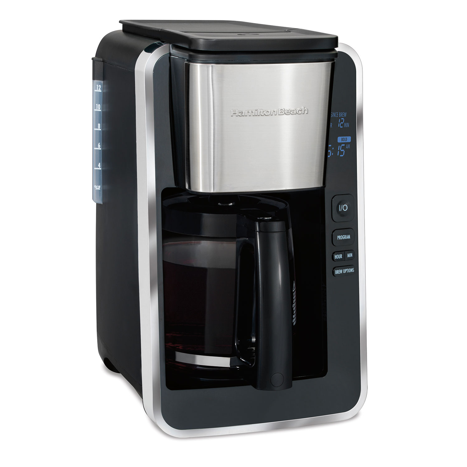 FrontFill™ Deluxe 12 Cup Programmable Coffee Maker Black & Stainless (46320)