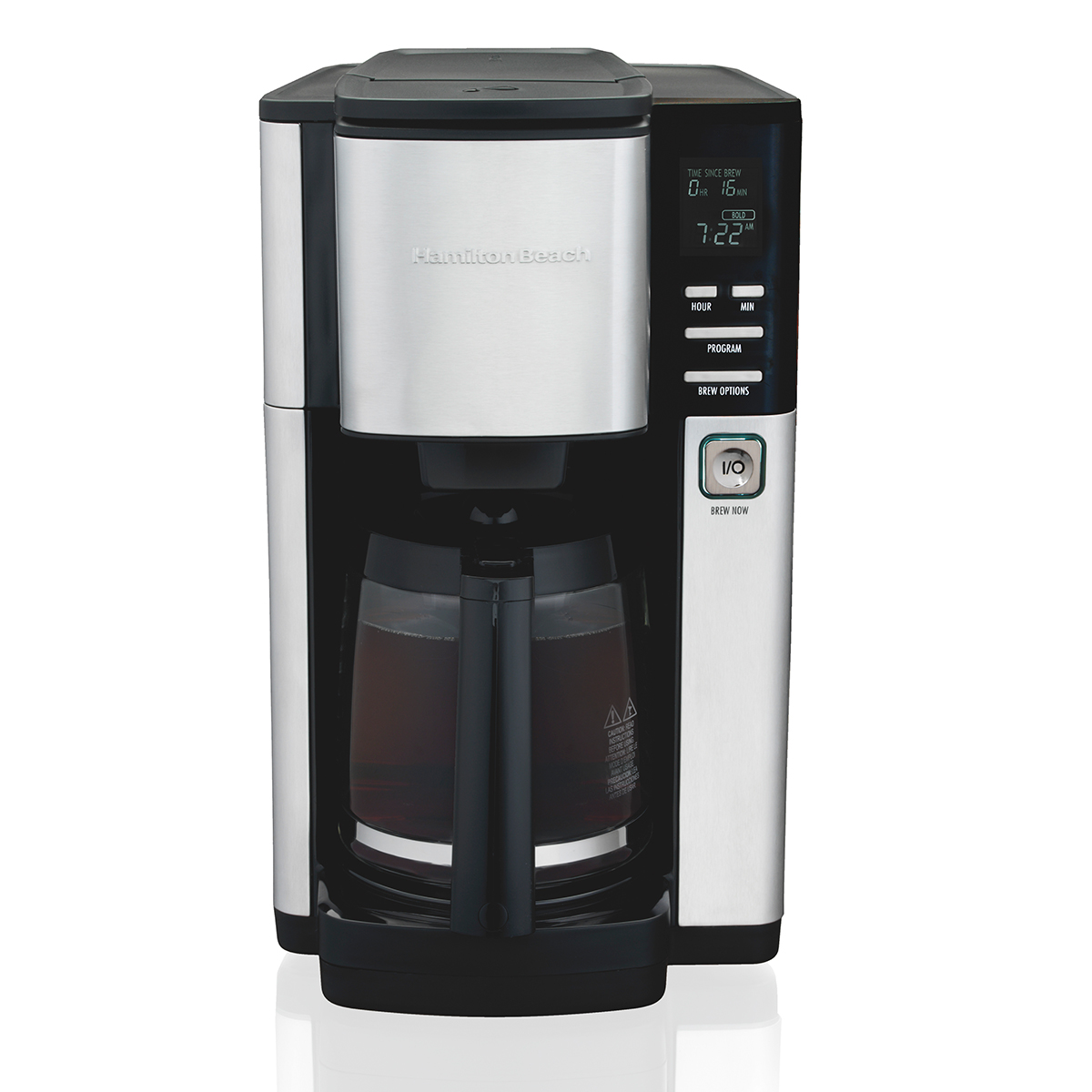 12-Cup Programmable Coffee Maker with Front-Fill Water Reservoir, Cone Filters, Black & Stainless (46380)