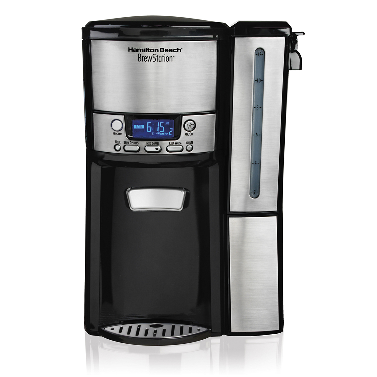 Stainless Steel Programmable Single Serve Coffee Maker with Removable Drip Tray