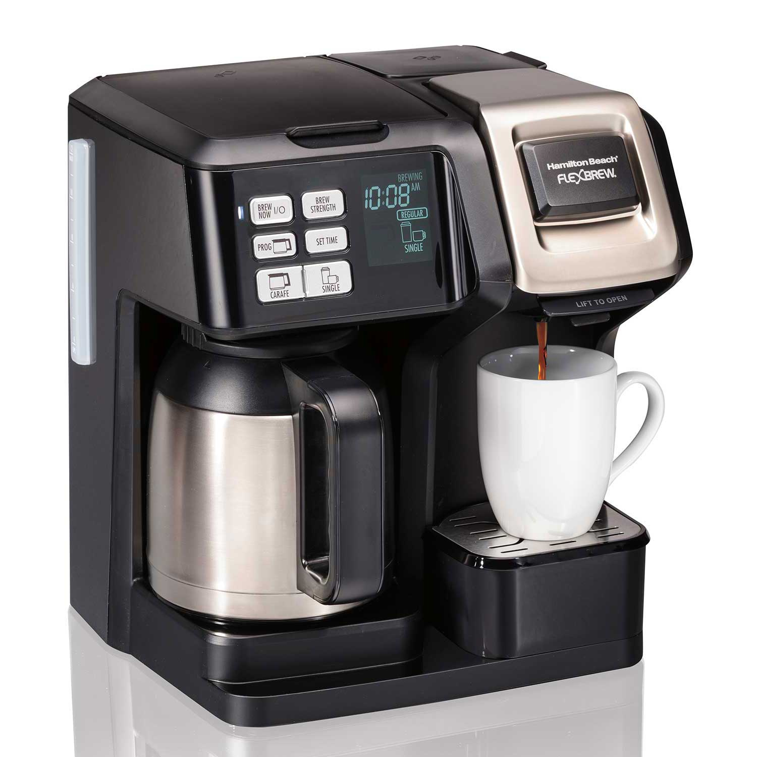 FlexBrew® 2-Way Coffee Maker with 10-Cup Thermal Carafe & Pod Brewer, Black (49966)