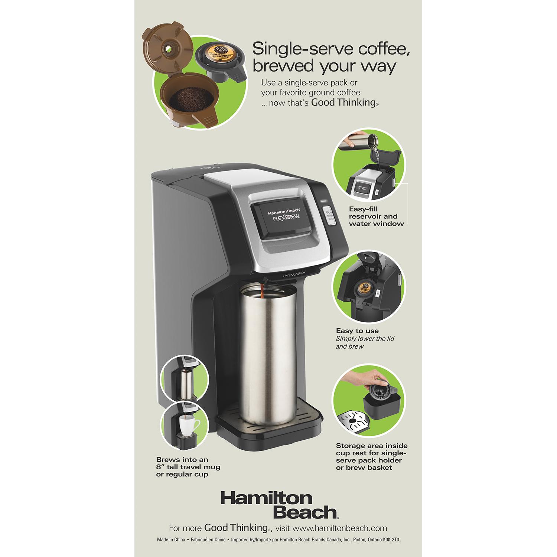 Hamilton Beach Flexbrew Single Serve Coffee Maker Black Silver