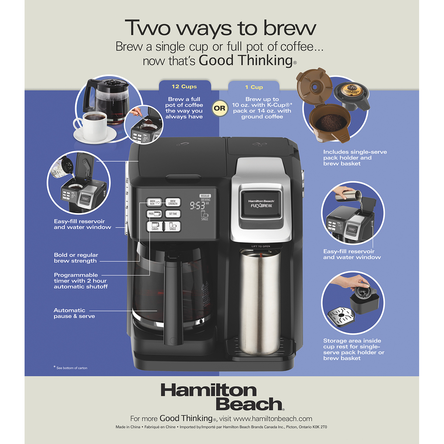 Hamilton Beach Flexbrew 2 Way Coffee Maker With 12 Cup Carafe Pod