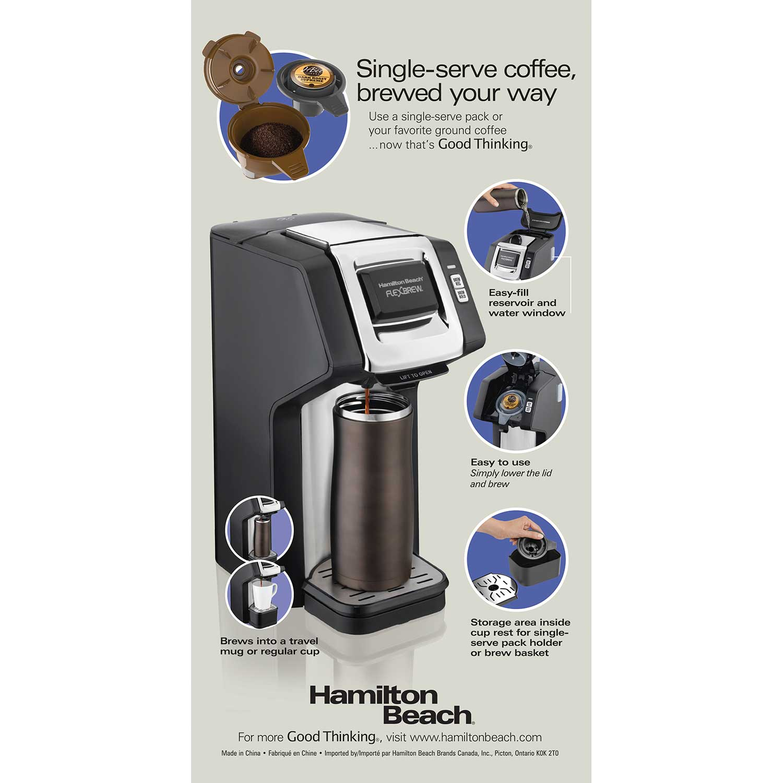 Hamilton Beach FlexBrew® Single-Serve Plus Coffee Maker, Black & Silver - 49979
