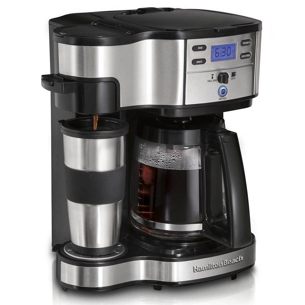 2-Way Coffee Maker with 12 Cup Carafe & Pod Brewing, Black & Stainless (49980Z)