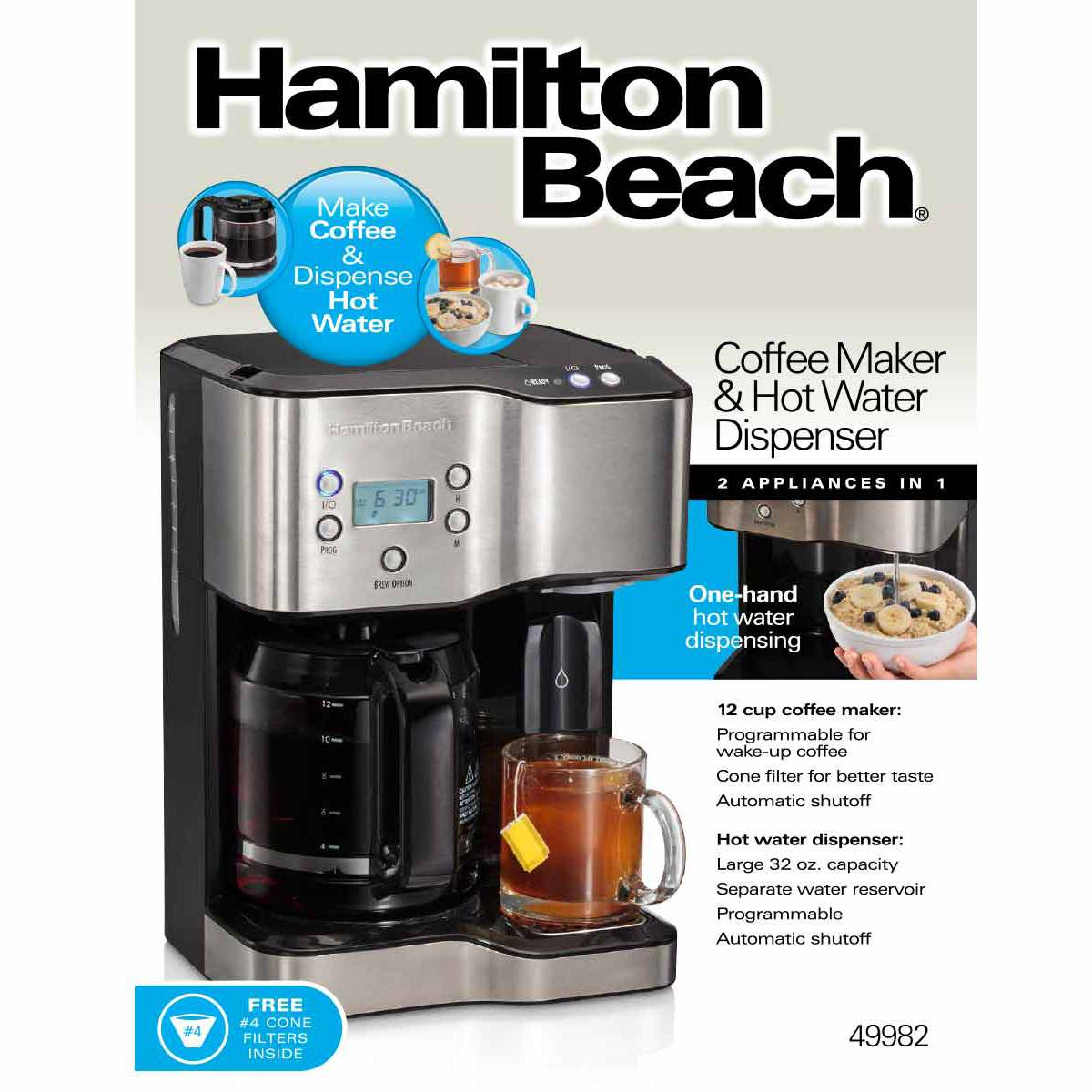 Coffee Maker With Hot Water Dispenser : Hamilton Beach Coffee Maker & Hot Water Dispenser - 49982