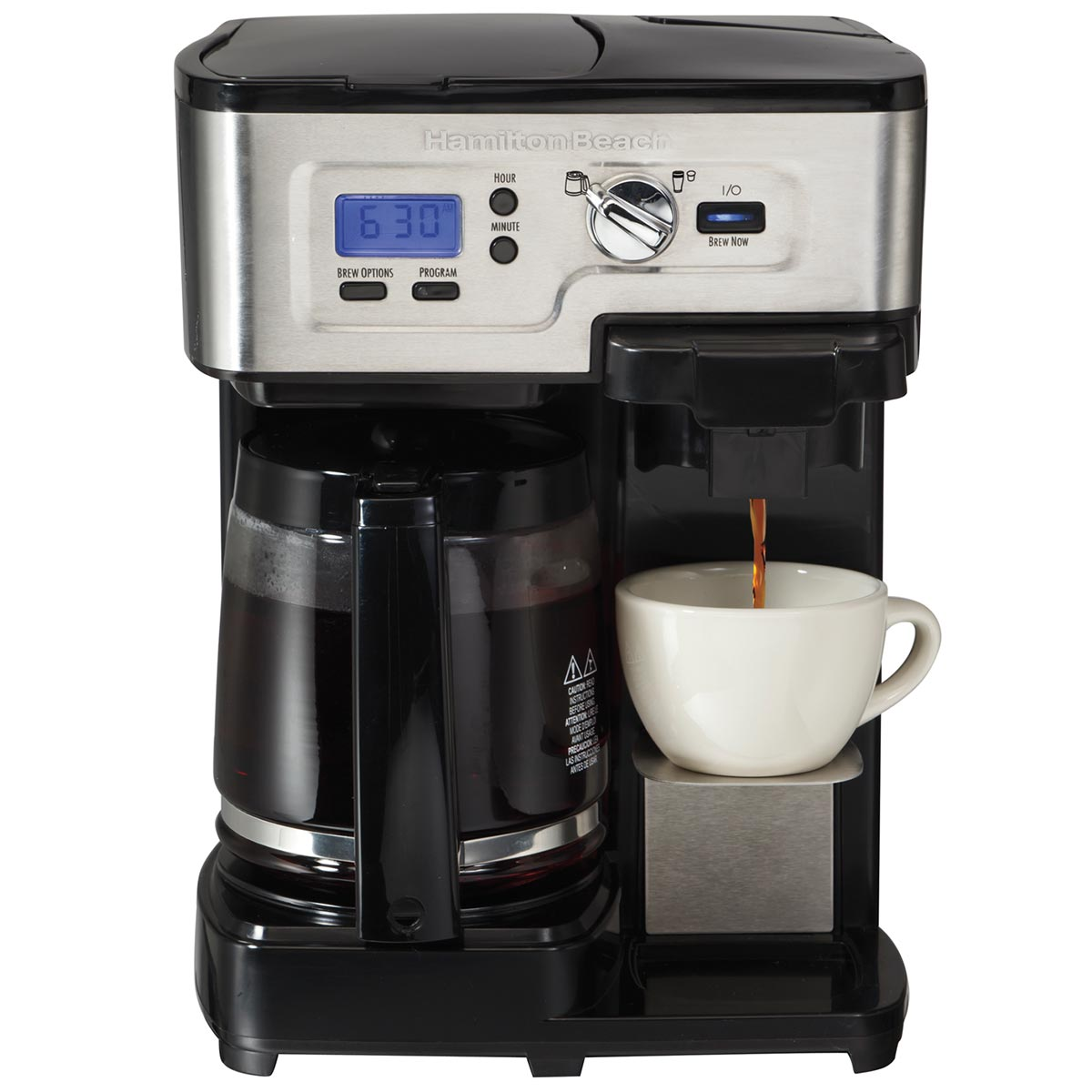 FlexBrew® 2-Way Coffee Maker with 12-Cup Carafe & Pod Brewing, Black & Stainless (49983)