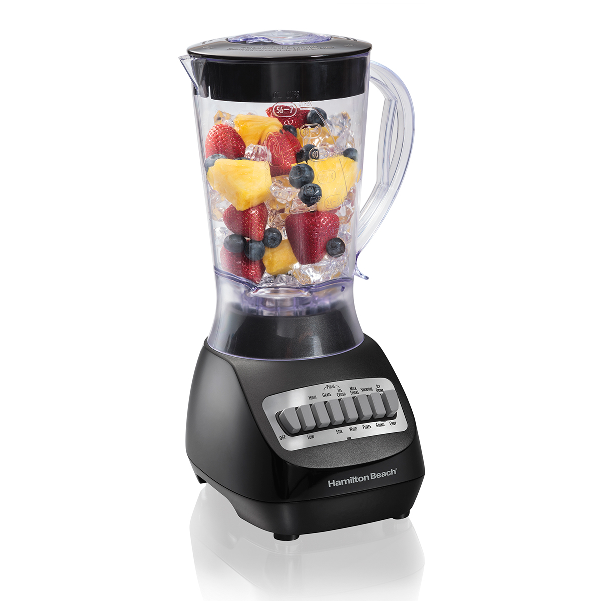Smoothie Blender with 56oz Plastic Jar, 650W Black (50190)