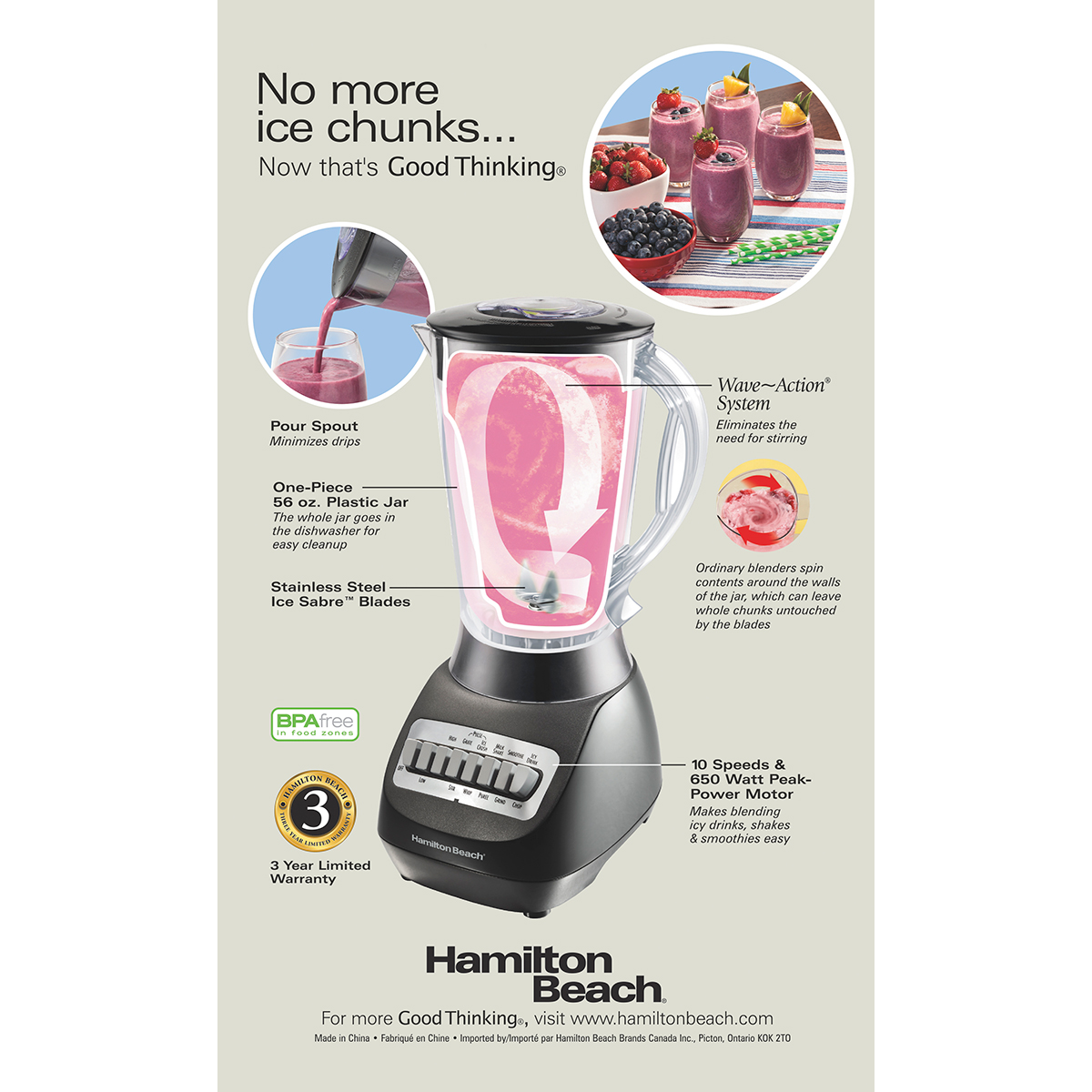 56 oz. Hamilton Beach Smoothie Electric Blender with 10 Speeds BPA-free Plastic