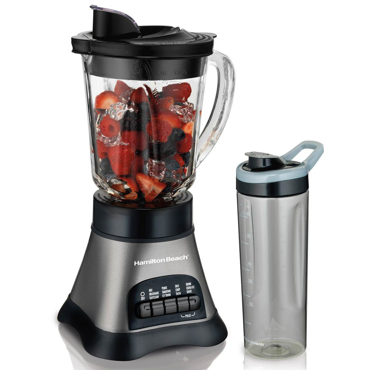Wave Crusher® Blender with 40oz Glass Jar & Blend-in Travel Jar, 700W Gray (58161)